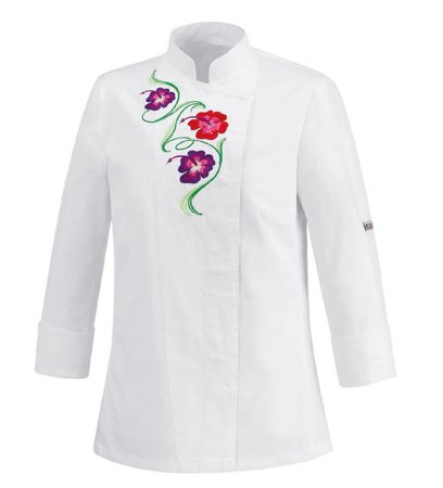 Picture of Chef Jacket White Flowers