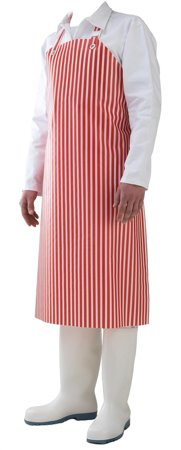 Picture of Waterproof Work Apron white & red striped HOTEL