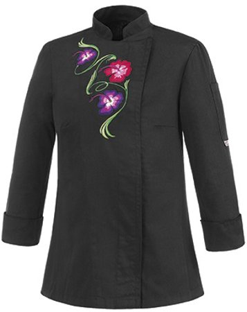 Picture of Chef Jacket Black Flowers