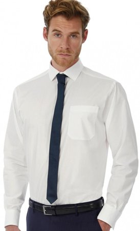 Picture of Men B&C Collection Heritage LSL Poplin Shirt / White