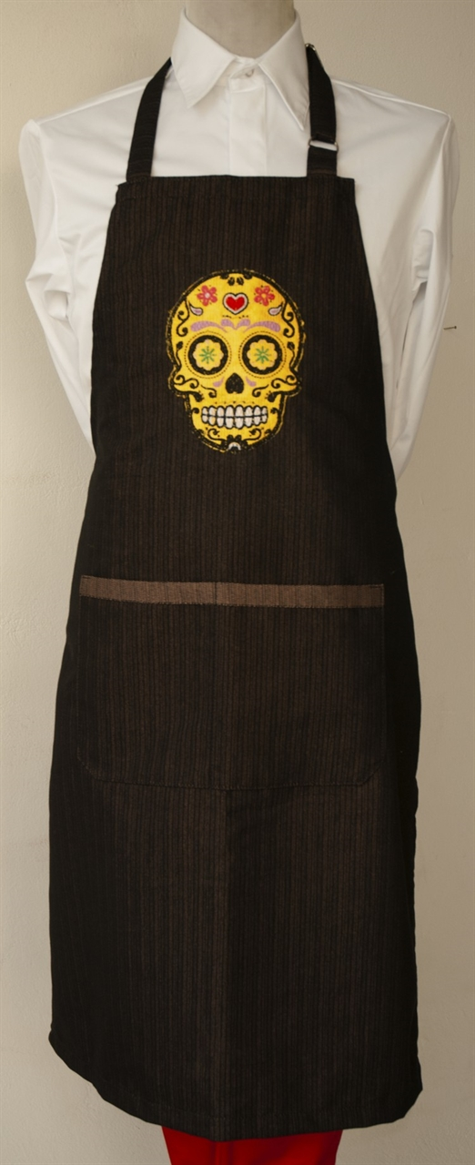 Picture of Bib Apron with embroidery / Skull