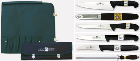 Picture of Chef forged Knives Coltellerie Paolucci - 6 Piece Set with Carrying Case, Ideal for Students