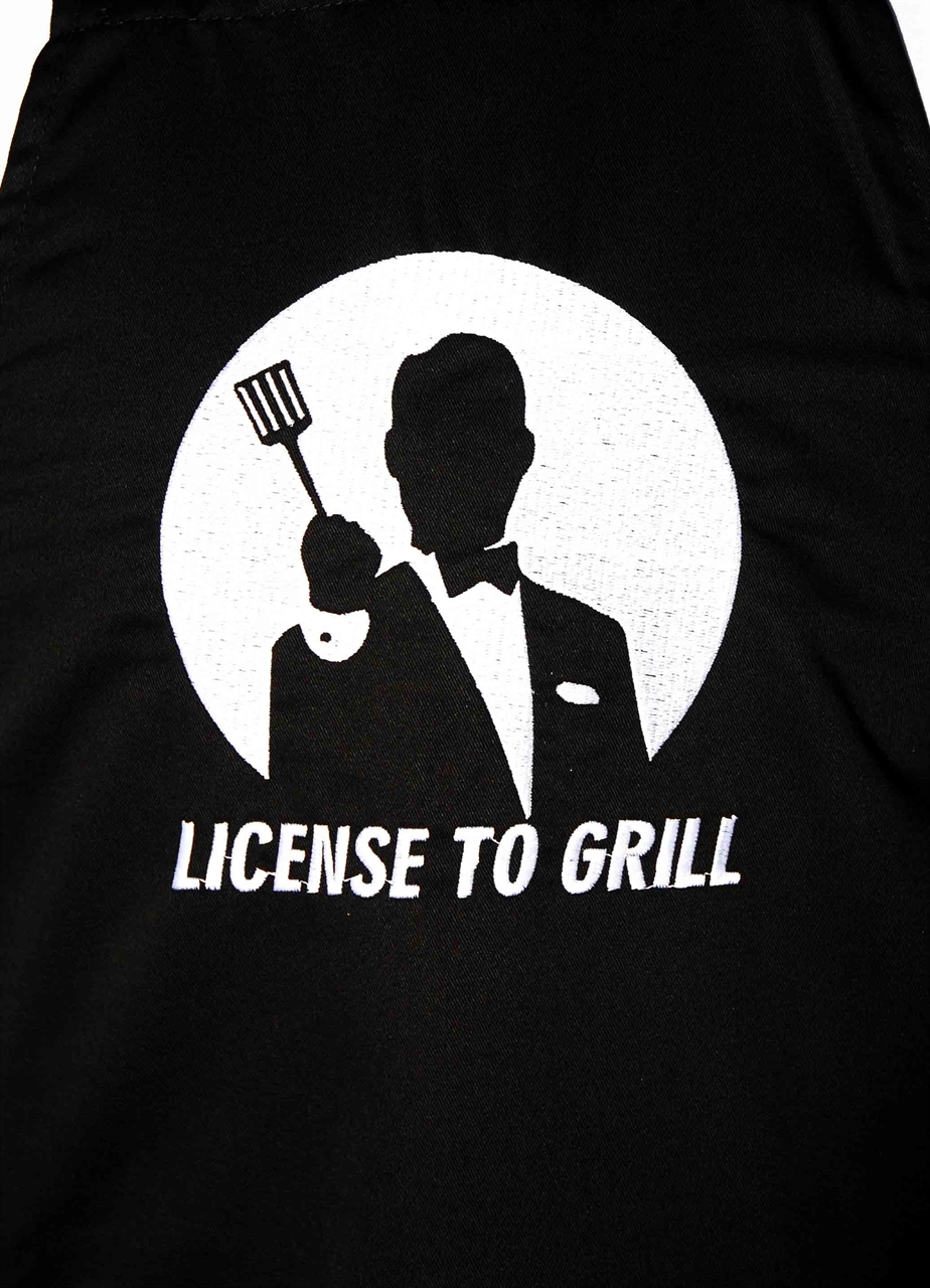 Picture of Bib Apron with embroidery / License to Grill