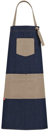 Picture of Bib Apron Kelor Jeans 1746 with Natural Linen fabric / Blue