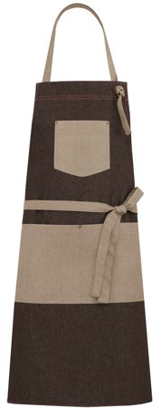 Picture of Bib Apron Kelor Jeans 1747 with Natural Linen fabric / Brown