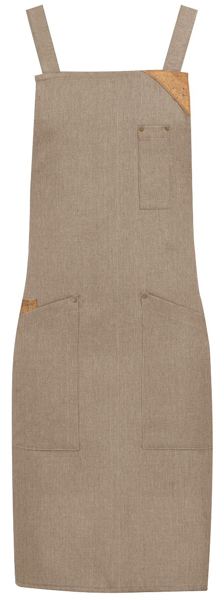 Picture of Bib Apron Shabby apron 1730 with Natural Linen fabric / Beige