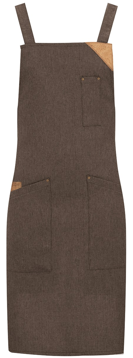 Picture of Bib Apron Shabby apron 1731 with Natural Linen fabric / Brown