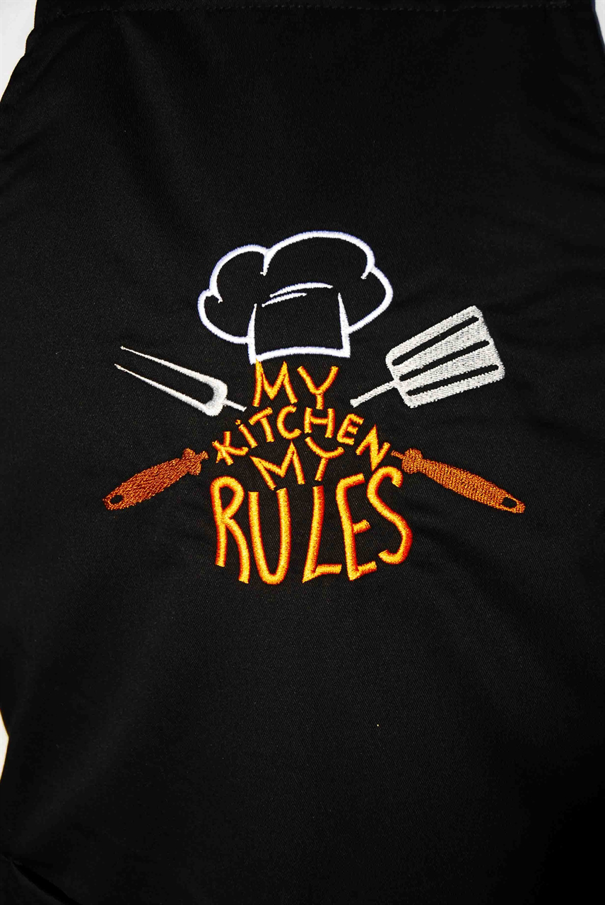 Picture of Bib Apron with embroidery / My Kitchen My rules